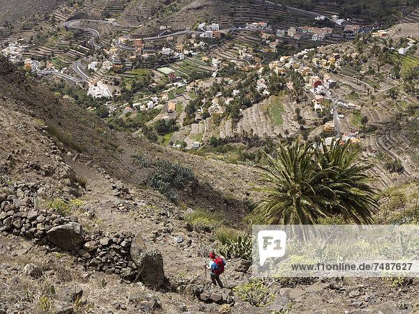 Europe  Spain  Mature woman hiking at Valle Gran Rey