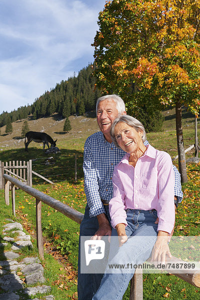 Deutschland  Bayern  Seniorenpaar auf Bergwanderung bei Wendelstein