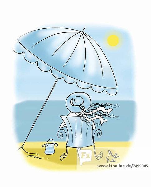 sitzend Frau Strand Regenschirm Schirm unterhalb Sonnenschirm Schirm sitzend,Frau,Strand,Regenschirm,Schirm,unterhalb,Sonnenschirm,Schirm