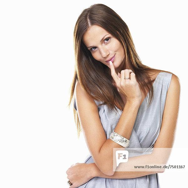 Portrait  Attraktivität  Frau  lächeln  weiß  Hintergrund