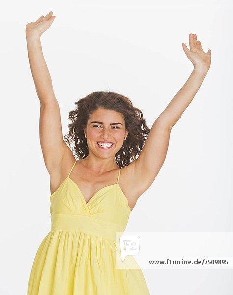 hoch  oben  Studioaufnahme  Portrait  Frau  lächeln
