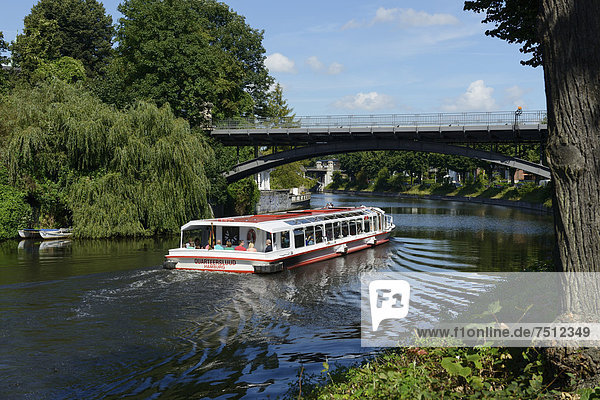 Excursion boat on the Alster river  Leinpfad walkway  Alster river