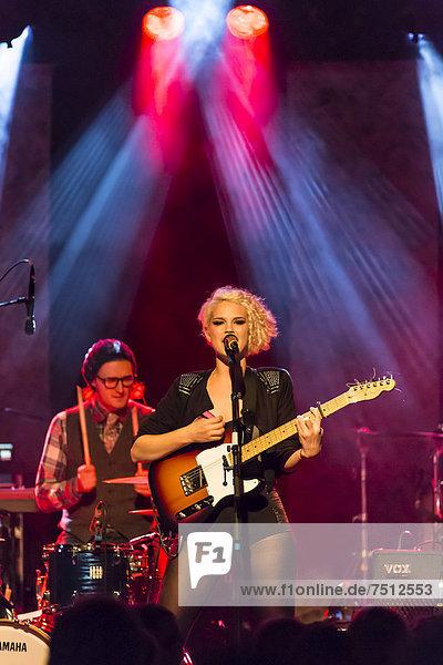 Canadian-Swiss singer Rykka  alias Christina Maria  performing live in the Schueuer concert hall  Lucerne  Switzerland  Europe