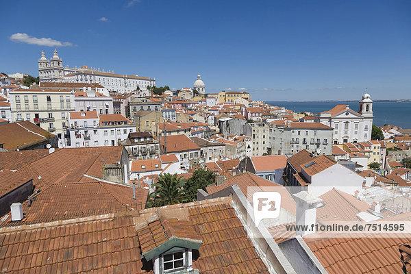 Lissabon Hauptstadt Dach Europa Ignoranz Fluss Kirche Alfama Kloster Portugal