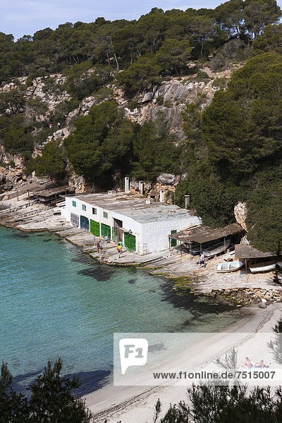 Boat house in the bay of Cala Pi  South Coast  Mallorca  Majorca  Balearic Islands  Mediterranean Sea  Spain  Europe
