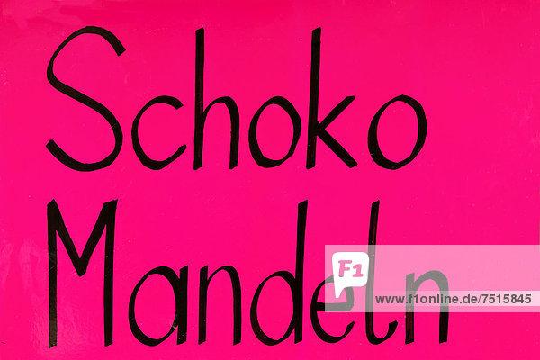 'Schild ''Schoko-Mandeln''  auf dem Oktoberfest  München  Oberbayern  Bayern  Deutschland  Europa' 'Schild ''Schoko-Mandeln'', auf dem Oktoberfest, München, Oberbayern, Bayern, Deutschland, Europa'