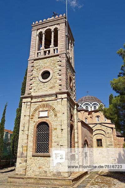 Byzantinische Kirche von Nea Moni  von Konstantin IX und Kaiserin Zoe nach dem wunderbaren Erscheinen einer Bildes der Jungfrau Maria an dieser Stelle  im Jahr 1049 eingeweiht  Nea Moni Kloster  UNESCO Weltkulturerbe  Insel Chios  Griechenland  Europa