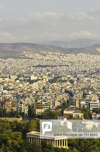 Athen Hauptstadt Europa über Großstadt Ansicht Akropolis Griechenland
