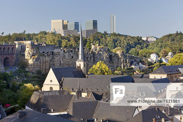 View over the lower town  Grund  Gronn  towards the EU-buildings in the European quarter  Kirchberg-Plateau  Luxembourg City  Europe  PublicGround
