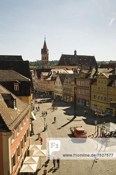 Europa über Quadrat Quadrate quadratisch quadratisches quadratischer Ansicht Baden-Württemberg Deutschland Markt Schwäbisch Gmünd
