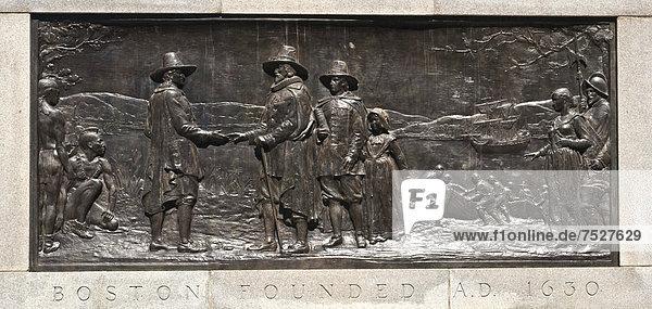 Gründung Bostons  Relief-Darstellung im Park Boston Common  Boston  Massachusetts  Neuengland  USA  Vereinigte Staaten  Nordamerika