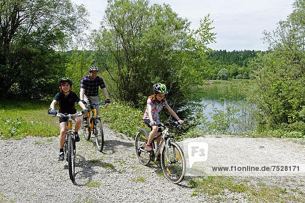 Bike trip  cyclists riding their bikes on Ickinger Stausee reservoir  Pupplinger Au  Isar river  Upper Bavaria  Bavaria  Germany  Europe