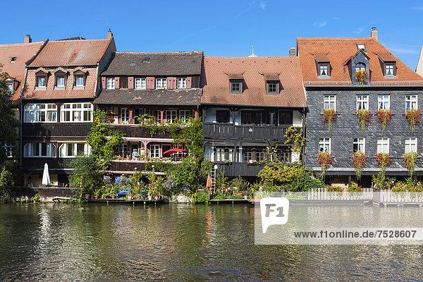 Europa klein Fluss Ansicht Bamberg Bayern Franken Deutschland Oberfranken