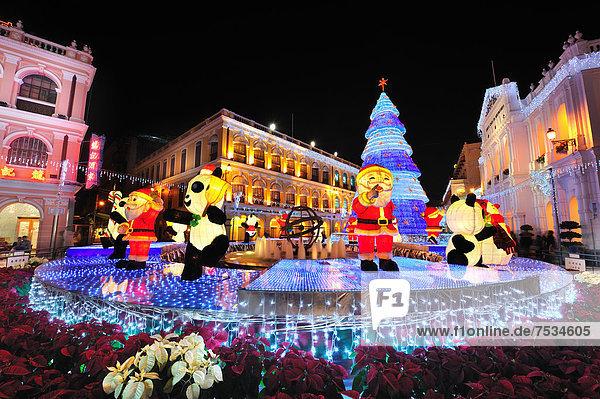 Christmas decorations at night,  Macao,  China,  Asia