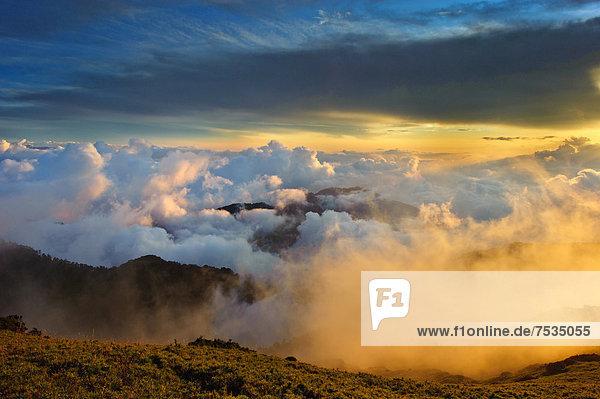Wolkenmeer am Berg Hehuan in Nantou  Taiwan  China  Asien