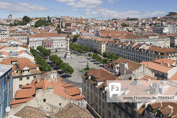 View on Rossio square  Pedro IV Square  Praca de D Pedro IV  with The National Theatre D Maria II  The Column of Pedro IV  and bronze fountains from the terrace of the Santa Justa Lift  Elevador de Santa Justa  Carmo Lift  Elevador do Carmo  Lisboa  Lisbon  Portugal  Europe
