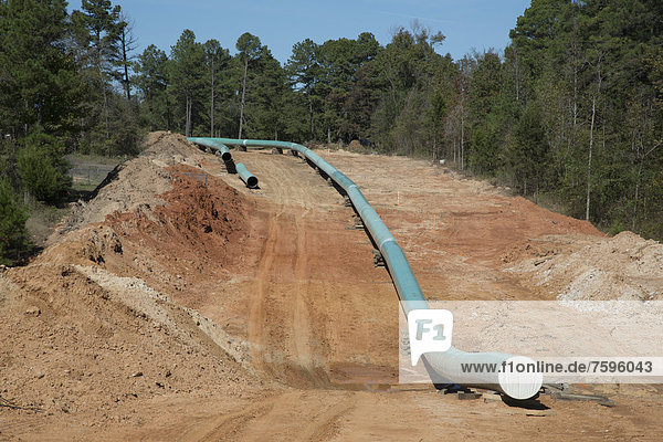 Construction of the southern portion of the Keystone XL pipeline  environmentalists have opposed the pipeline because it will transport dirty tar sands oil from Alberta  contributing to global warming and raising the risk of pollution from pipeline leaks  Winnsboro  Texas  USA