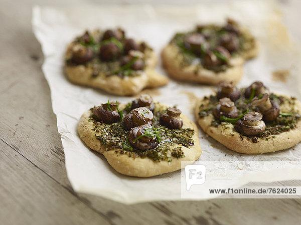 Close up of mushroom pesto pastries