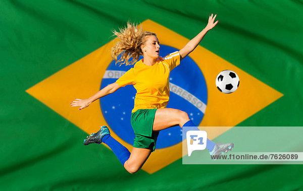 Brasilianischer Fußballspieler nach Flagge