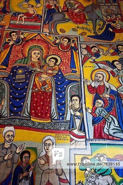 Colourful Wall Paintings  Bet Maryam Monastery  Lake Tana  Bahir Dar  Ethiopia