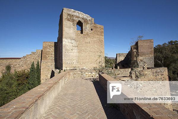 Turm der Festung Alcazaba  M·laga  Andalusien  Spanien  Europa
