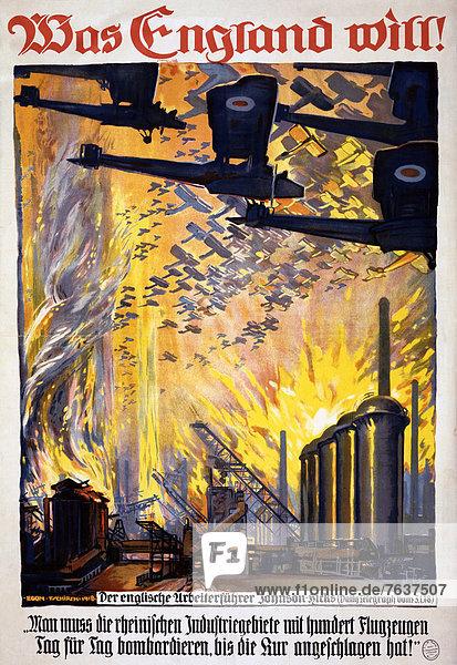 Flugzeug  Europa  Traum  Werbung  Feuer  Poster  Krieg  Fabrikgebäude  Bombe  britisch  deutsch  Deutschland  Schwarm