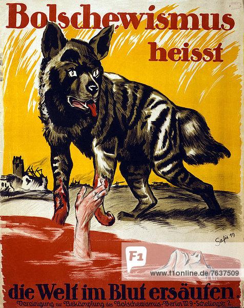 Wolf  Canis lupus  Europa  Mann  Werbung  Poster  Krieg  untergehen  Vernichtung  deutsch  Deutschland