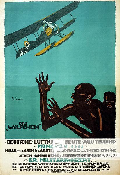 Flugzeug  Europa  Angst  Werbung  Veranstaltung  Poster  Krieg  Beutetier  Beute  deutsch  Deutschland  München