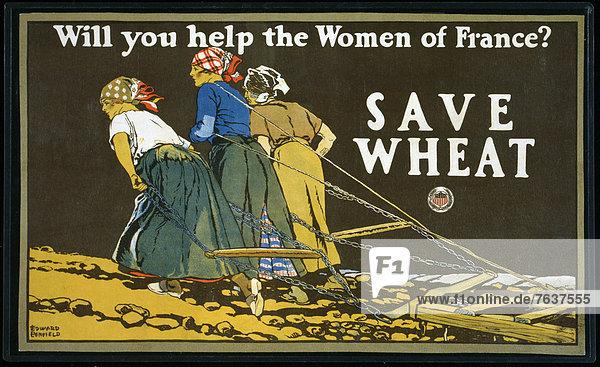 Vereinigte Staaten von Amerika  USA  Europa  Frau  Lebensmittel  Lebensmittelladen  Hilfe  Werbung  Poster  Krieg  amerikanisch  pflügen
