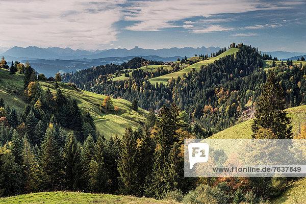 Landschaftlich schön landschaftlich reizvoll Europa Wald Holz Alpen Zusammenstoß Wiese Emmentaler Bern Kanton Bern Schweiz