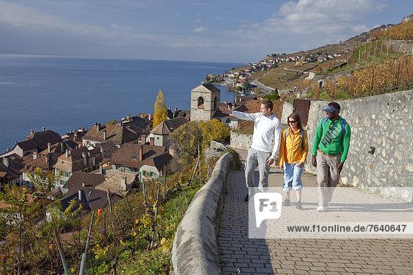 Frau Mann gehen Wein Weg See schwarz Touristin wandern Herbst multikulturell Ethnisches Erscheinungsbild Wanderweg trekking