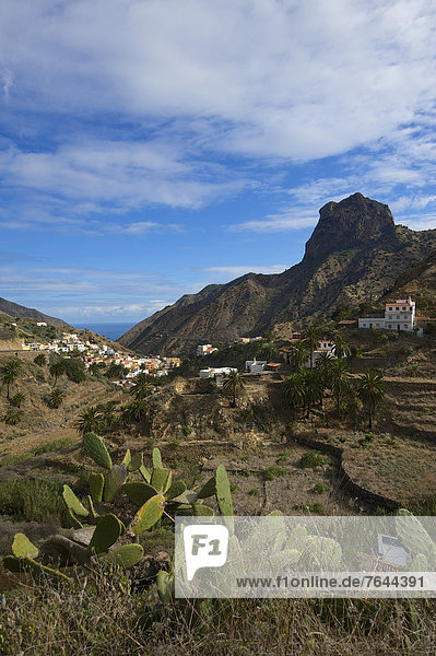 Canaries  Europe  Canary islands  La Gomera  Spain  outside  day  nobody  Vallehermoso  town view  mountain landscape  mountain landscapes  mountain  mountains  mountainous  scenery  nature