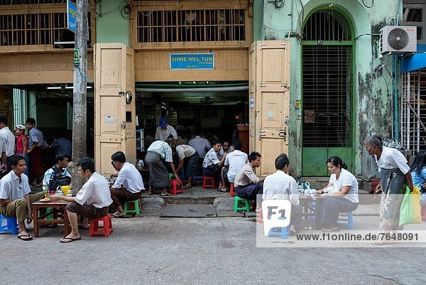 A typical teahouse in Yangon Myanmar