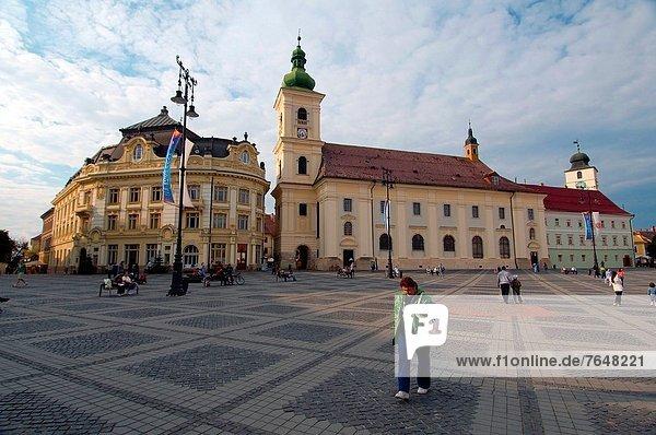 Europa Stadtplatz links rechts Rumänien Sibiu Hermannstadt