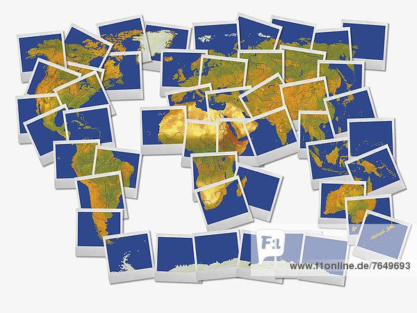 Weltkarte aus Polaroids