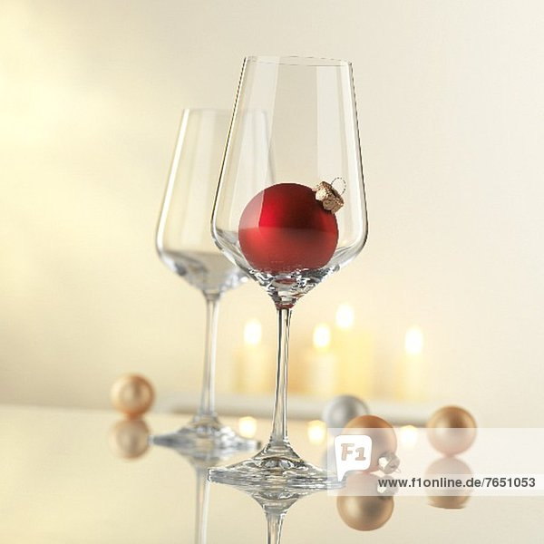 Wine glasses with Christmas decorations