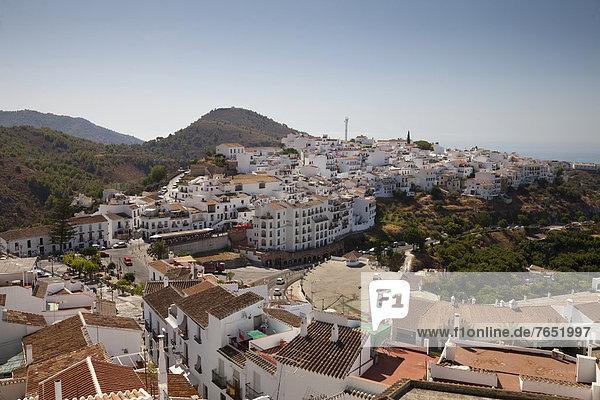 Europa über Dorf Ansicht Andalusien Nerja Spanien