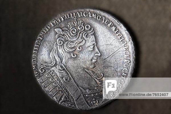 Portrait  Antiquität  Silber  Geldmünze  russisch