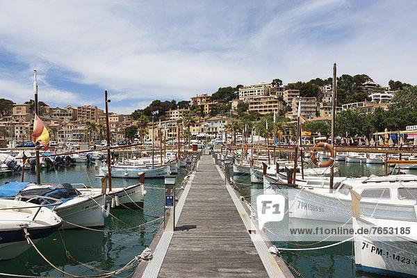 Fishing boats in the harbor of Port de SÛller  Northwest Coast  Mallorca  Majorca  Balearic Islands  Mediterranean  Spain  Europe