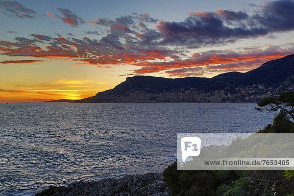 Frankreich Europa sehen Sonnenuntergang Mütze Mittelmeer Monaco