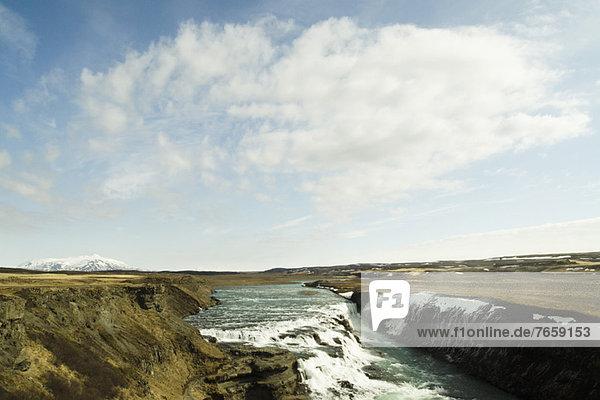 Isländische Wasserfälle im Goldenen Kreis  Island Gullfoss