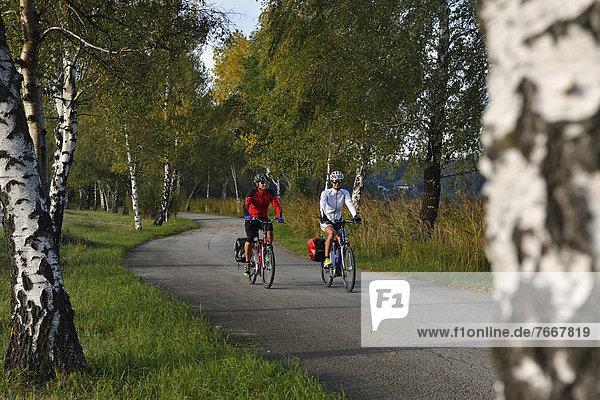 Elektro-Radfahrer auf Bajuwaren-Radweg  Fraham  Grabensee  Salzburger Seenland  Salzburg  Österreich  Europa
