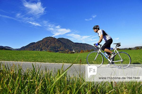 Racing cyclist  Ruhpolding  Chiemgau region  Upper Bavaria  Bavaria  Germany  Europe