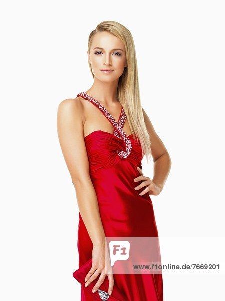Studioaufnahme  Portrait  Frau  rot  jung  Kleid