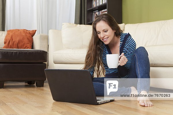 benutzen  Frau  Notebook  lächeln  Zimmer  Wohnzimmer