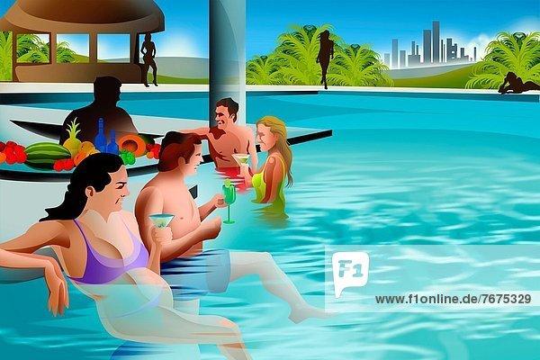 Fröhlichkeit  Getränk  schwimmen