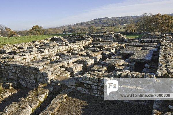 zeigen Europa Boden Fußboden Fußböden Wohnhaus Wärme Großbritannien über Unterstützung Zimmer Himmel Festung UNESCO-Welterbe hängen England römisch