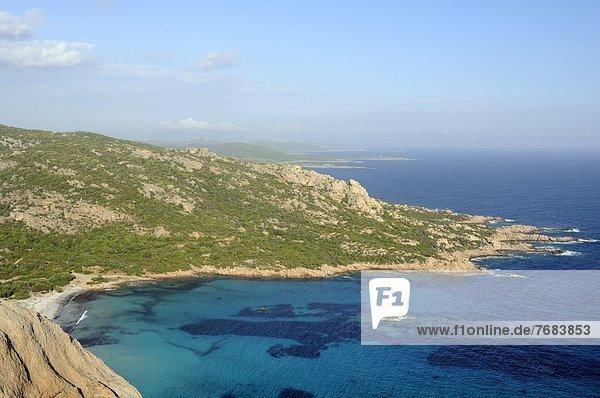 Frankreich Europa Felsen Draufsicht Bucht Korsika