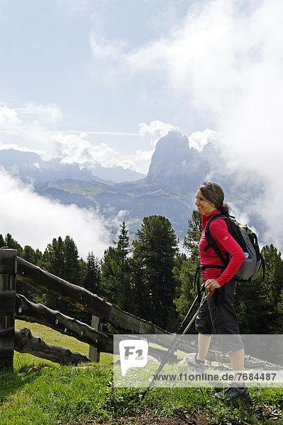 Wanderin  Bergsteigerin  am Raschötz mit dem Langkofel bei St. Ulrich  Grödnertal  Südtirol  Alto Adige  Italien  Europa