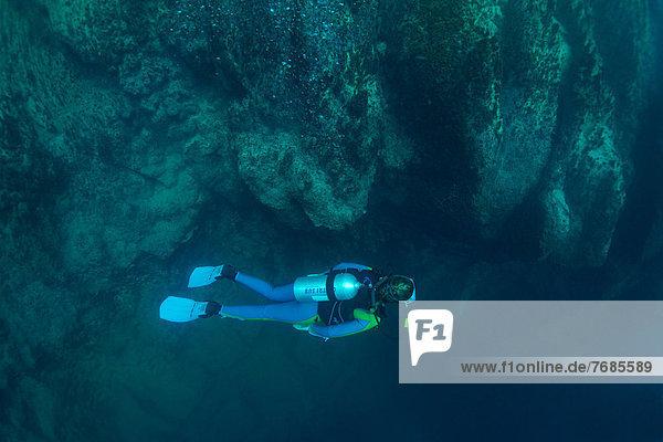 Scuba diver in Barracuda Lake